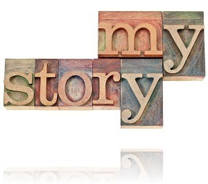 my story - isolated text in vintage letterpress wood type printing blocks
